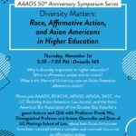 Upcoming Event: Diversity Matters: Race, Affirmative Action, and Asian Americans in Higher Education